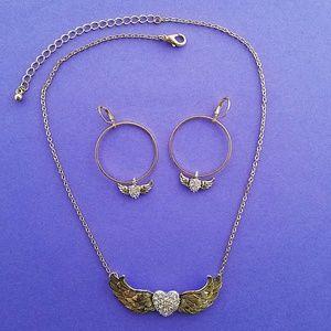 Jewelry - Gold Angel Wings Heart Necklace Earring Set